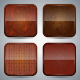Wooden icon vector set Royalty Free Stock Images