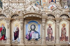 Wooden iconostatis of the Cathedral of Saviors Transfiguration in Pochayiv Lavra, Ukraine Royalty Free Stock Image