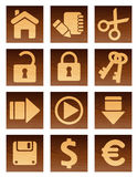 Wooden icons. Vector illustration, AI file included Royalty Free Stock Photo