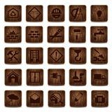Wooden icons. Construction icons set from wood Royalty Free Stock Image