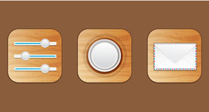 Wooden icons Stock Images