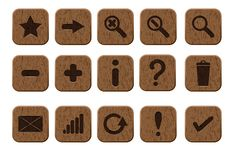 Wooden icons set Royalty Free Stock Photos