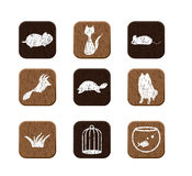 Wooden icons set Royalty Free Stock Images