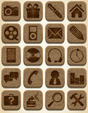 Wooden icons set Stock Image