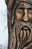 Wooden statue of the idol. Architecture stock photo