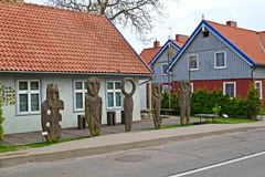 Wooden idols about the Amber museum in Nida, Lithuania Royalty Free Stock Photography