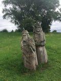 Wooden idols in Braslav Belarus royalty free stock photos