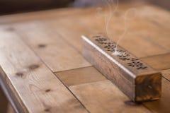 Wooden incense burner Royalty Free Stock Images