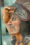 The Wooden Indian. A cigar store indian out on the sidewalk Stock Images