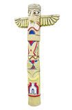Wooden indian colorful totem pole isolated on white Royalty Free Stock Photos