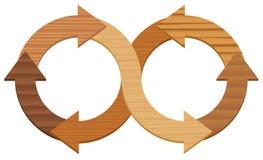 Wooden Infinity Symbol Circuit Arrows. Wooden infinity symbol, with arrows of different types of wood. Illustration on white background stock illustration