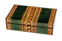 Wooden inlay green casket Stock Photo
