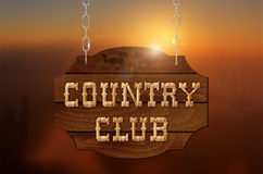 Wooden inscription COUNTRY CLUB on wooden sign Stock Photos
