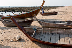 Wooden insides of rowing boats at a beach in Royalty Free Stock Image