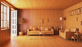 Wooden interior concept. Wooden interior. 3d concept illustration Royalty Free Stock Photos