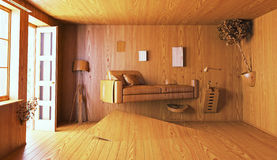 Wooden interior. 3d concept rendering stock illustration