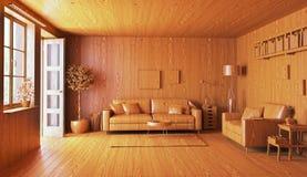 Wooden interior. 3d concept rendering Stock Image