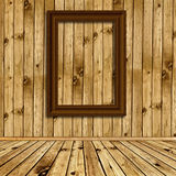 Wooden interior with empty frames Stock Photo