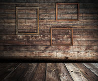 Wooden interior with frames Stock Image
