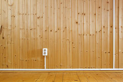 Wooden interior with power outlet Royalty Free Stock Images