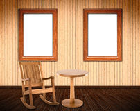 Wooden Interior with rocking chair Stock Photos