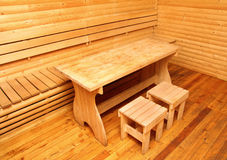 Wooden interior of sauna rest room Royalty Free Stock Photos
