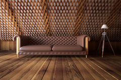 Wooden interior with sofa Royalty Free Stock Images