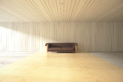 Wooden interior with sofa Royalty Free Stock Photography