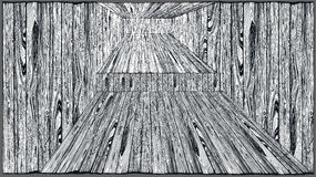 Wooden interior. Vintage drawing Stock Photos