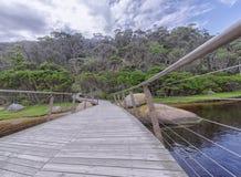 Wooden and iron bridge Royalty Free Stock Photo