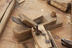 Wooden and iron Planer for the manufacture of wooden planks Stock Images