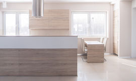 Wooden island in kitchen Royalty Free Stock Photo