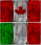 Wooden Italian and Canadian Flags Royalty Free Stock Photos