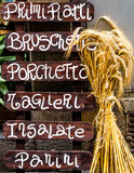 Wooden Italian restaurant banner Stock Photo