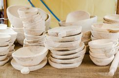 Wooden items for kitchen,plates,bowl,etc Royalty Free Stock Image