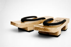 Wooden japanese geta. A pair of wooden geta sandals stock image