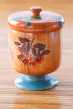 Wooden jar style decoupage Stock Photography