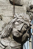 Wooden Jesus. From the Cross hill in Siauliai in Lithuania stock images
