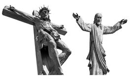 Wooden Jesus crucified Stock Images