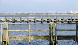 Wooden jetties in the harbour Royalty Free Stock Photography