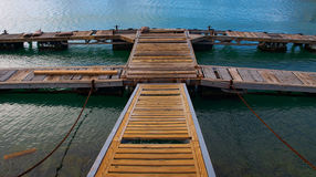 Wooden Jetty. Wooden walk-on jetty in Gordonsbay South Africa Royalty Free Stock Image