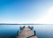 Wooden jetty. Beautiful old wooden jetty - nice background with copy space Royalty Free Stock Photo