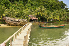 Wooden Jetty At Local Village, Ream National Park, Cambodia Stock Photo