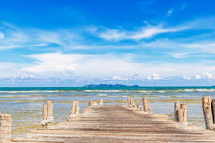 Wooden jetty at beach Stock Images