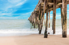 Wooden jetty and beauty beach Royalty Free Stock Image