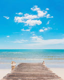 Wooden jetty and beauty beach Stock Photo