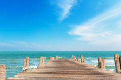 Wooden jetty with blue sky Stock Images