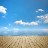 Wooden jetty blue sky Stock Photo