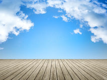 Wooden jetty blue sky Royalty Free Stock Image