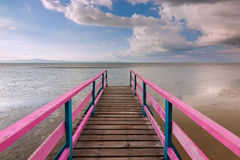 Wooden jetty with blue sky at Sabah, Malaysia, Borneo Stock Photography